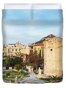 Remains Of The Roman Agora And Tower Of The Winds In Athens Duvet Cover