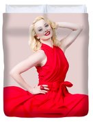 Retro Blond Pinup Woman Wearing A Red Dress Duvet Cover