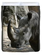 Rhinoceros With Two Horns Up Close And Personal Duvet Cover