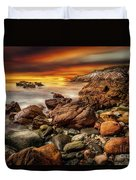 Rhoscolyn Coastline Sunset  Duvet Cover by Adrian Evans
