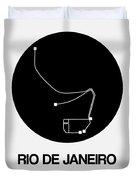 Rio De Janeiro Black Subway Map Duvet Cover