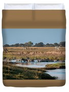 River-crossing Zebras Duvet Cover