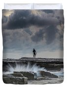 Rock Ledge, Spear Fishermen And Cloudy Seascape Duvet Cover