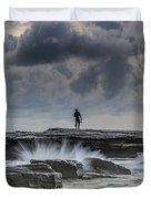 Rock Ledge, Spear Fishermen And Cloudy Seascape Duvet Cover