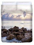 Rocky Beach At Sunset Duvet Cover by Brian Jannsen