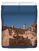 Roman Temple In Petra Duvet Cover by Mae Wertz