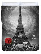 Romance At The Eiffel Tower Duvet Cover