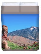 Roque Cinchado In Front Of Mount Teide Duvet Cover