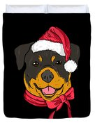 Rotweiler Xmas Hat Dog Pet Lover Christmas Duvet Cover