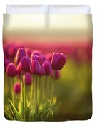 Rows Of Magenta Painterly Tulips Duvet Cover