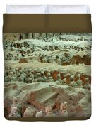 Rows Of Terra Cotta Warriors In Pit 1 Duvet Cover
