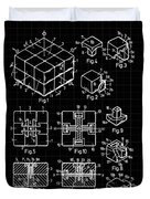 Rubik's Cube Patent 1983 - Black And White Duvet Cover by Marianna Mills
