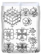 Rubik's Cube Patent 1983 Duvet Cover by Marianna Mills