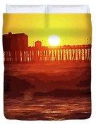 Ruby Sunset Oceanside Pier Duvet Cover