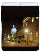 Rue Saint Paul In Old Montreal At Night Duvet Cover