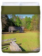 Rustic Double Crib Barn And Split Rail Fence In Cades Cove Duvet Cover