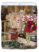 Rustic Wooden Table With Various Herbs And Flowers Duvet Cover
