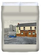 Ryans Pub And Swords Castle Painting Duvet Cover