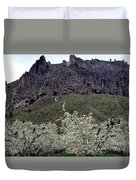 Saddle Rock And Apple Blooms Duvet Cover