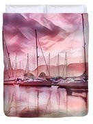 Sailboat Reflections At Sunrise Abstract Duvet Cover