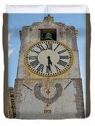Saint Mary Church Clock Tower In Tavira. Portugal Duvet Cover
