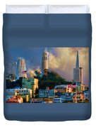 Salesforce Tower Coit Tower Transamerica Pyramid Duvet Cover