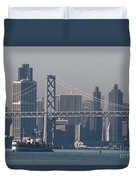 San Francisco Past The Bay Bridge Duvet Cover
