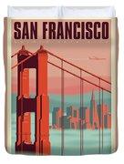 San Francisco Poster - Vintage Travel Duvet Cover