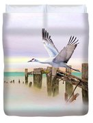 Sandhill Crane And Old Dock Duvet Cover