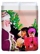 Santa And The Kids Duvet Cover