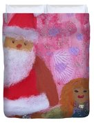 Santa Claus And Guardian Angel - Pintoresco Art By Sylvia Duvet Cover