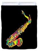 Saxophone Music Instrument Gift For Musician Color Designed Duvet Cover