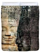 Sculptures At Bayon Temple, Angkor Duvet Cover