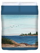 Seagulls Over Lighthouse Cove Duvet Cover