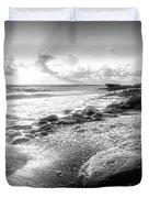 Seashells On The Seashore In Black And White Duvet Cover