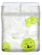 Seasons Greetings - Frosty White With Chartreuse Accents Duvet Cover