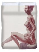Seated Nude Woman Watercolor Duvet Cover