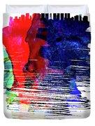 Seattle Skyline Brush Stroke Watercolor   Duvet Cover