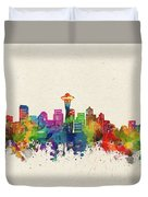 Seattle Skyline Watercolor Duvet Cover