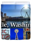 Seattle Washington Waterfront 01 Duvet Cover