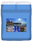 Seattle Washington Waterfront 01 Duvet Cover
