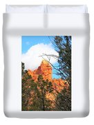 Sedona Adobe Jack Trail Blue Sky Clouds Trees Red Rock 5130 Duvet Cover