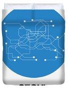 Seoul Blue Subway Map Duvet Cover