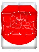 Seoul Red Subway Map Duvet Cover