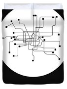 Shanghai White Subway Map Duvet Cover