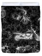 Shiny Bikes Galore In Black And White Duvet Cover