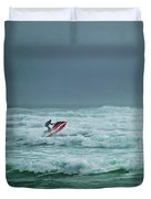 Shooting The Surf Duvet Cover by Judy Hall-Folde