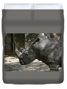 Side Profile Of A Large Rhinoceros With Two Horns  Duvet Cover