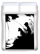 Silhouette Of A Boy Fishing With His Dog Duvet Cover by Rose Santuci-Sofranko