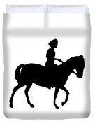 Silhouette Of A Woman On Horseback Duvet Cover by Rose Santuci-Sofranko